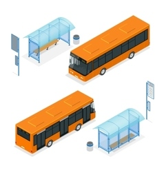 Isometric icon - bus stop and bus flat 3d vector