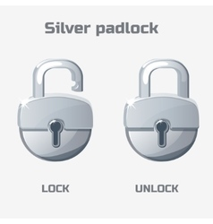 Cartoon silver padlock lock and unlock vector