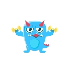 Blue monster with horns and spiky tail working out vector