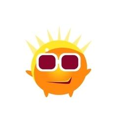 Cool smirk round character emoji vector