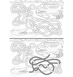 crocodile maze vector image vector image
