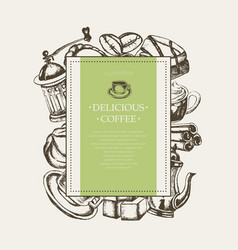 Delicious coffee - monochromatic hand drawn square vector