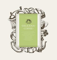 delicious coffee - monochromatic hand drawn square vector image vector image