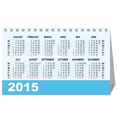 Desk calendar 2015 template vector image