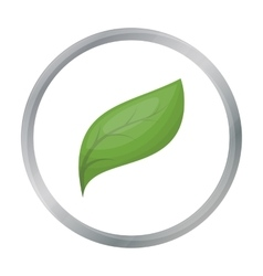 Eco leaf icon in outline style isolated on white vector image