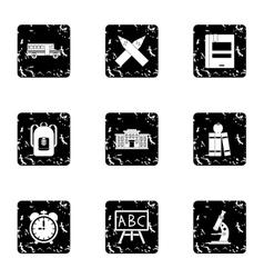 Education icons set grunge style vector image