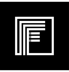 F capital letter made of stripes enclosed in a vector
