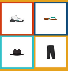 Flat icon garment set of sneakers pants panama vector