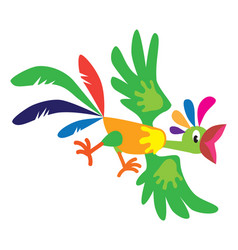 funny flying parrot vector image vector image
