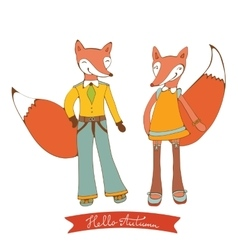 Hello autumn elegant card with cute fox characters vector image