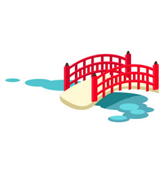 Japanese arched garden bridge across pond vector