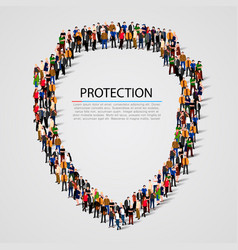 Large group of people in the shield shape vector