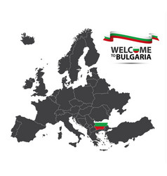 map of europe with the state of bulgaria vector image vector image