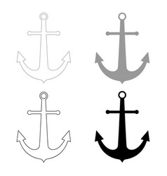 Marine anchor the black and grey color set icon vector