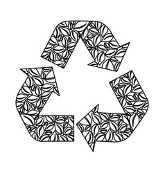 monochrome recycling symbol with arrows and formed vector image vector image