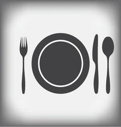Plate knife fork spoon vector