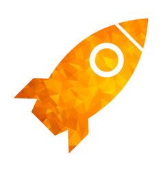polygon golden icon rocket vector image vector image
