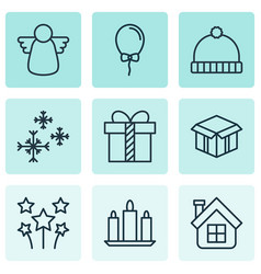 set of 9 celebration icons includes festive vector image vector image