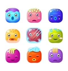Square fantastic creature face emoji set vector