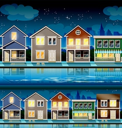 suburb at night vector image vector image