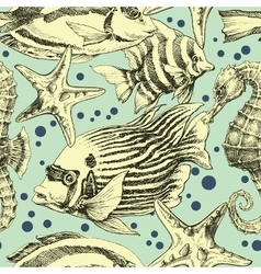Underwater seamless pattern vintage style vector image