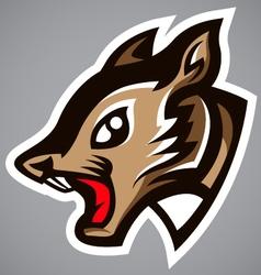 Squirrel head gray shield logo vector