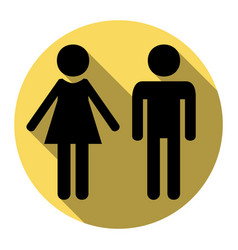 Male and female sign  flat black icon with vector