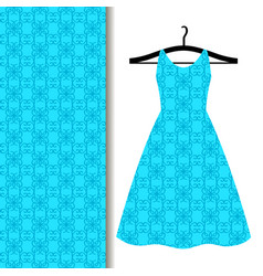 Dress fabric pattern with blue pattern vector