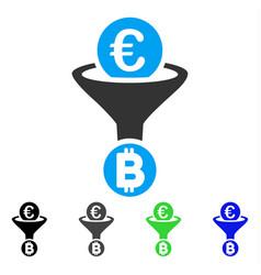 Euro bitcoin conversion funnel flat icon vector
