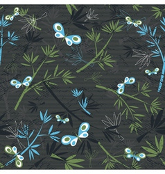 texture of bamboo spray and butterflies on grey ba vector image