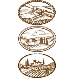 Tuscany landscapes vector