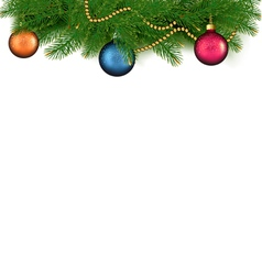 Christmas background with balls and branches vector