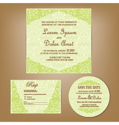 Wedding set green vector