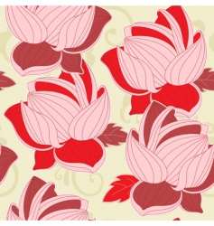 Seamless pattern with red lotus vector