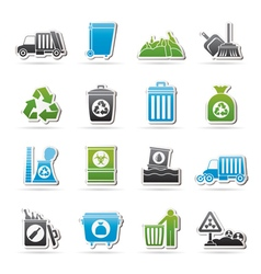 Garbage cleaning and rubbish icons vector