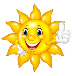 Cartoon sun giving thumbs up isolated vector