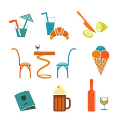 Cafe icons set for web vector