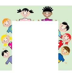 children holding blank paper vector image vector image