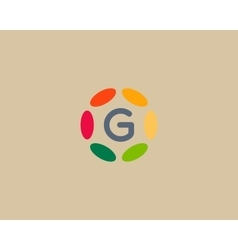 Color letter g logo icon design hub frame vector