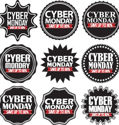 Cyber monday save up to 80 black signs set vector