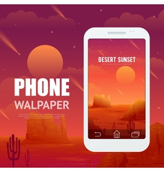 Desert concept for phone walpaper vector