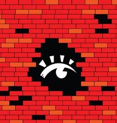 Eye in brick wall vector