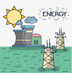 Factory pollution with energy towers vector