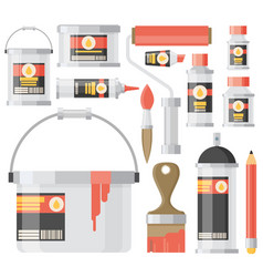 flat design icons set of art supplies art vector image vector image