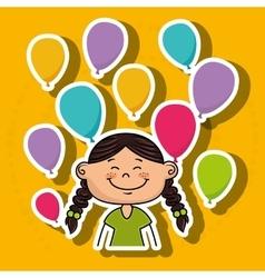Girl balloons party cartoon vector