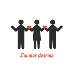 love threesome with stick people vector image vector image