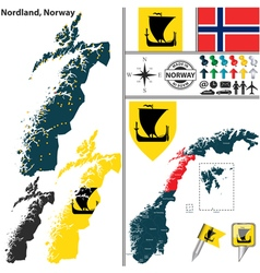 Map of nordland vector