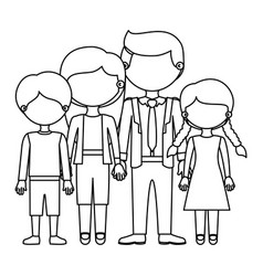 Sketch silhouette faceless family group in casual vector