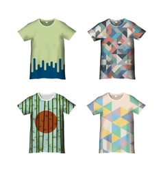 T shirt template with different prints variation1 vector