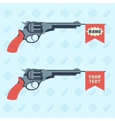 Toy guns with BANG and empty flags vector image